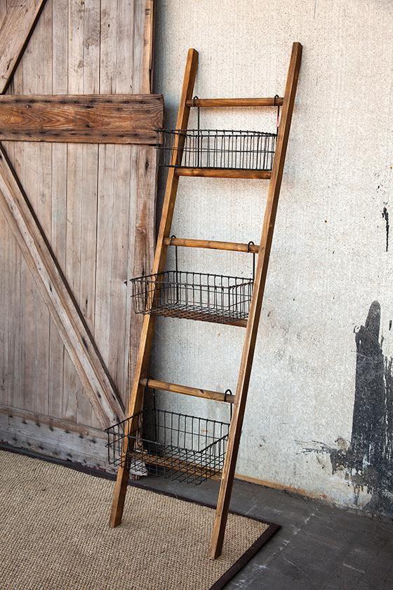 Jacob Ladder with Baskets - Leaning Ladder Shelf | HomeDecorators.com