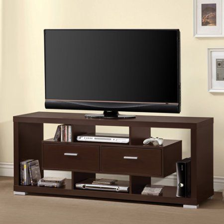Coaster Contemporary Cappuccino TV Console for TVs up to 46 inch, Brown