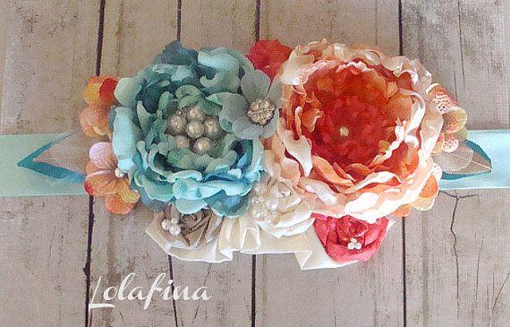 Bridal Sash...Orange et Sarcelle...Grande fleur Sash...Accessoire de mariage