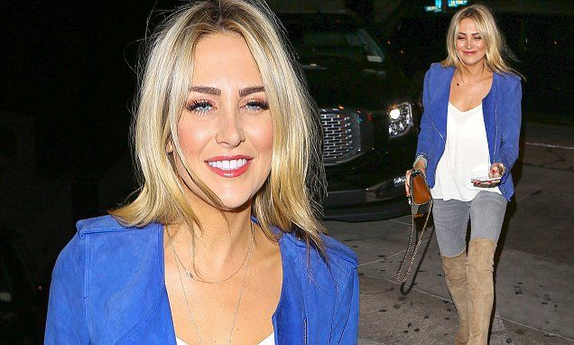 Stephanie Pratt steps out in eye-catching blue jacket and suede  boots