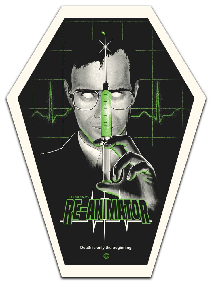 """kogaionon: """" Re-Animator by Studiohouse Designs / Facebook / Twitter / Tumblr / Instagram / Store 18″ x 24″ 4 color screen prints on French Whitewash 100lb paper, regular edition of 50 and coffin..."""