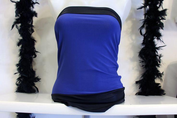 Mavi Siyah Straplez Spor Abiye Bayan Bluz Clubwear