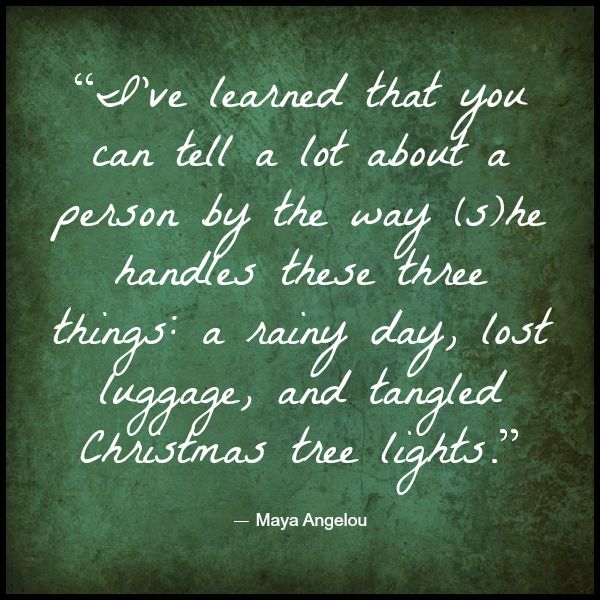 Today's Monday Meditative Moment is all about the virtue of patience, and while we might fare well in the rainy day category, tangled Christmas lights are sure to bring out the worst in us! How about you -- can you untangle lights with a smile on your face?