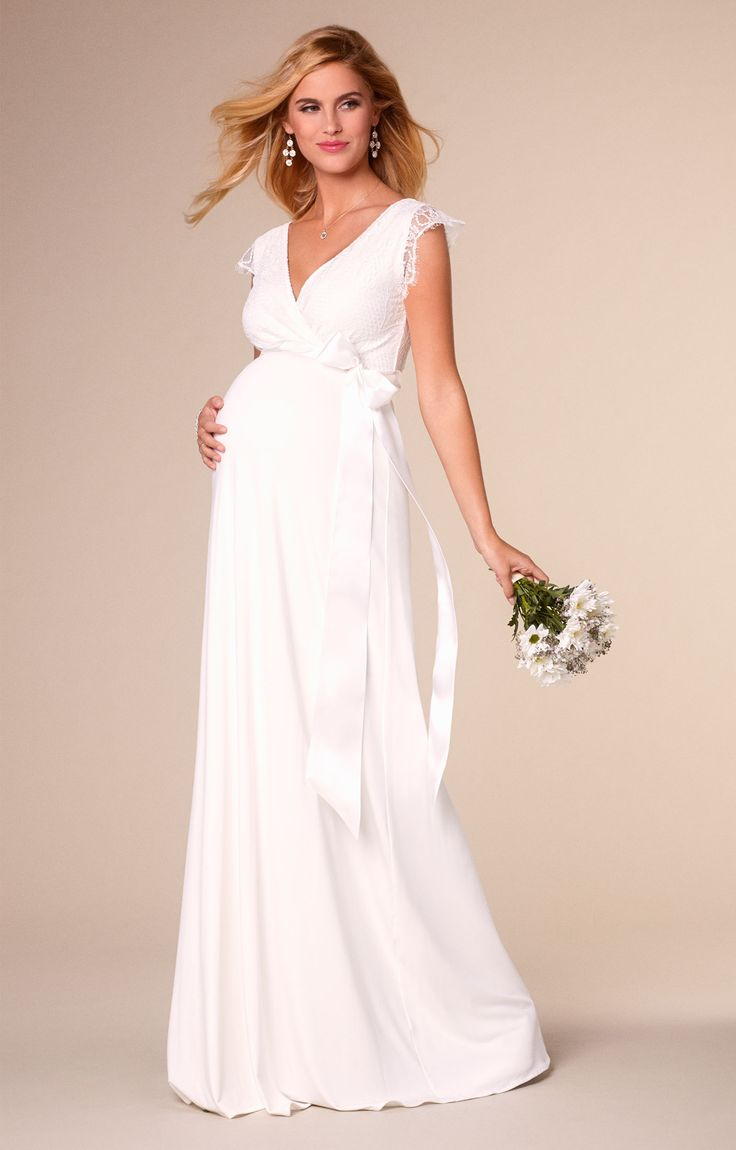 Floaty capped sleeves and a beautiful lace overlay – Rosa is such a romantic maternity bridal gown.