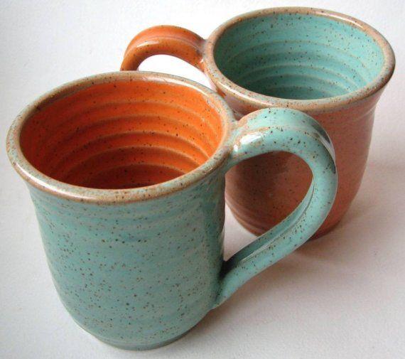 turquoise/orange matching mugs