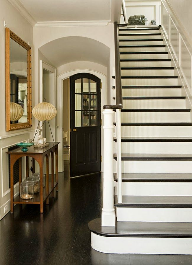 Savvy Home: Shop the Look - Our shadowy hallway stairs may benefit from a fresh coat of pale paint, with dark stair tops.