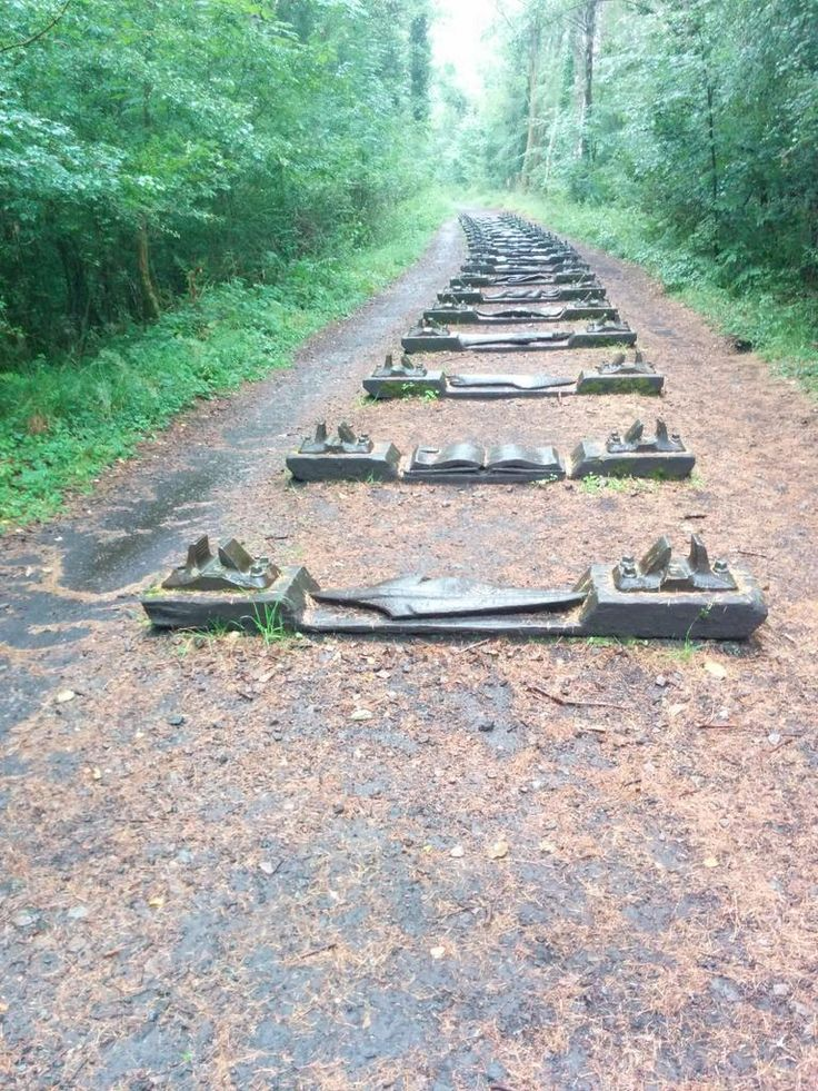 Forest Of Dean railway sleepers, now sculptures.