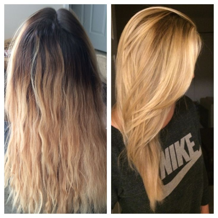 Blonde Hair Balayage Highlights Before and After