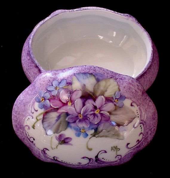 Signed Hand Painted Porcelain Ring Trinket Jewelry Gift Box - Features a Violet and Forget-Me-Not Design - Can be personalized Inside $34.50 + $5.95