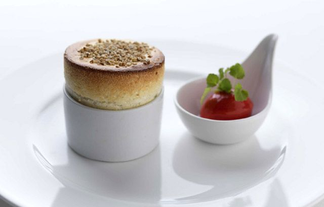 Cranachan soufflé (whipped cream, whisky, honey & fresh raspberries with toasted oatmeal) by Adam Stokes