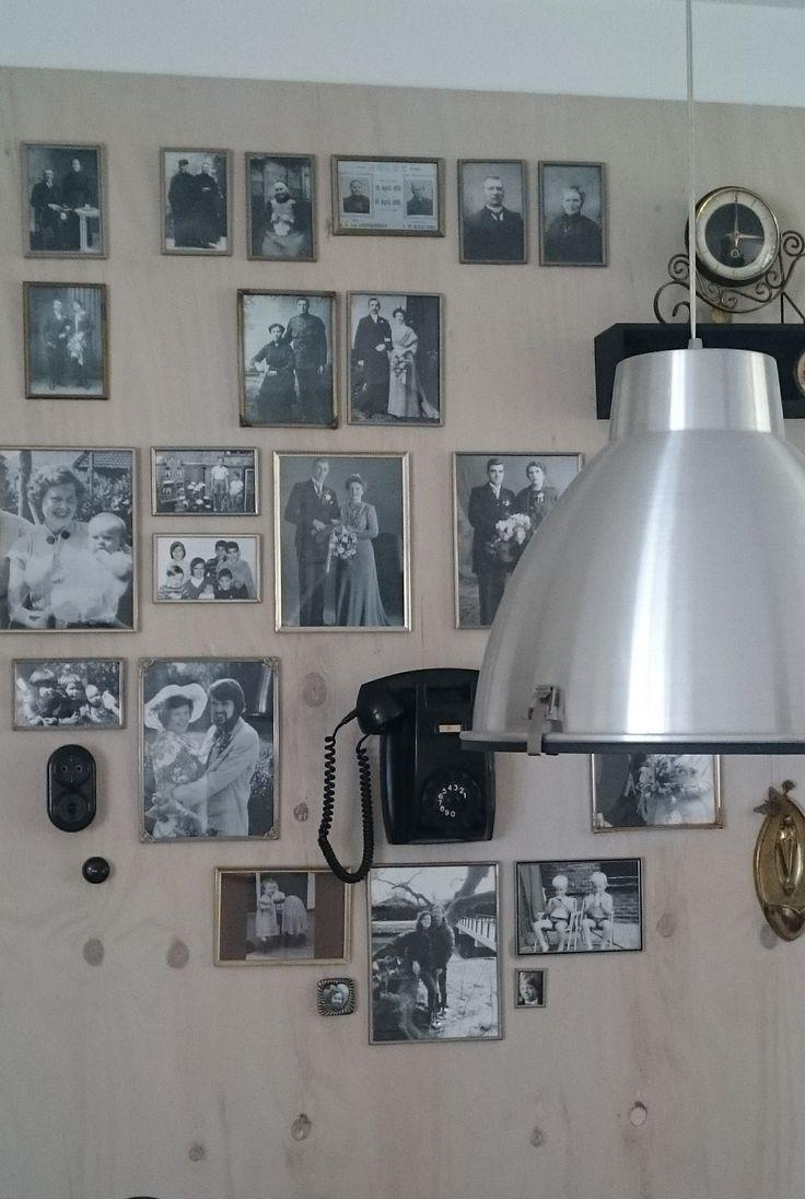 Zelfgemaakte Familie Stamboom met twee schroefjes in de muur. - Zelfmaak ideetjes