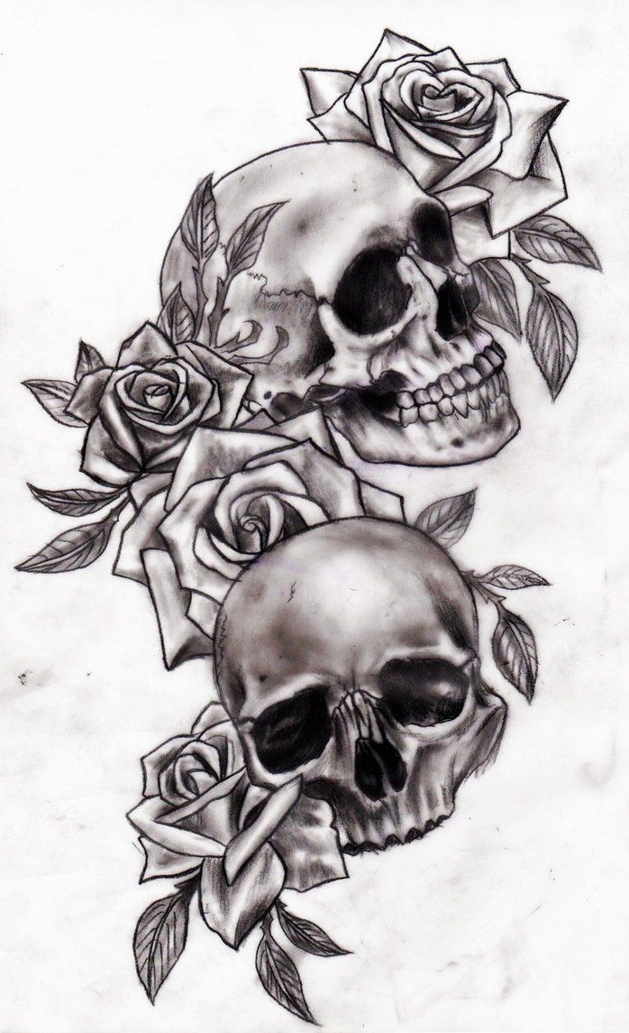 Gallery For gt Awesome Skull With Roses Drawings