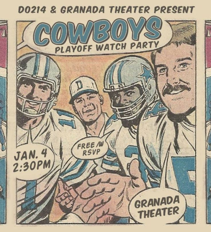 Watch the Cowboys Playoffs at Granada | 01/03/15 | 2:30pm | Free Event | 18+ | RSVP  http://do214.com/events/2015/1/4/dallas-cowboys-vs-detriot-lions-playoff-watch-party