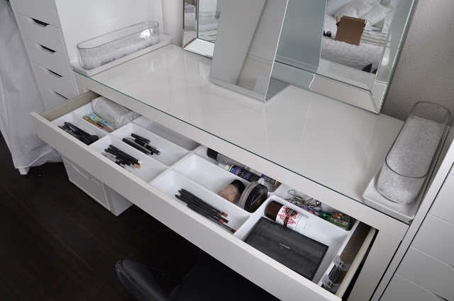 IKEA Makeup Organization- I think I may have 2 use some of these ideas! Malm desk with cutlery storage!