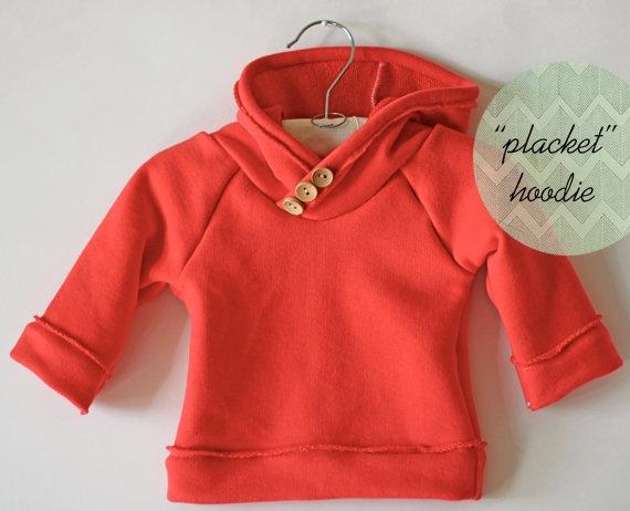 handmade baby raglan hoodie / sweatshirt with button placket-- custom order size and color. $ 34.99, via Etsy.