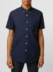 Navy Oxford Short Sleeve Casual Shirt