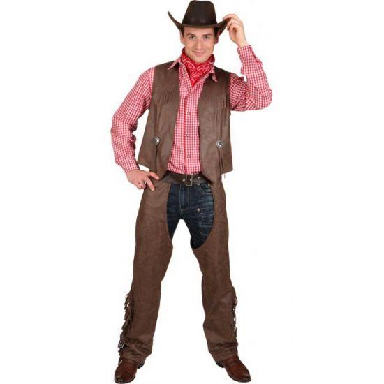 Grote maten bruine chaps en vest  Grote maat cowboy vest en chaps voor heren. Een mooi bruin vest en bijpassende chaps voor een echte cowboy look. Imitatieleer: 50% katoen and 50% polyester.  EUR 46.95  Meer informatie