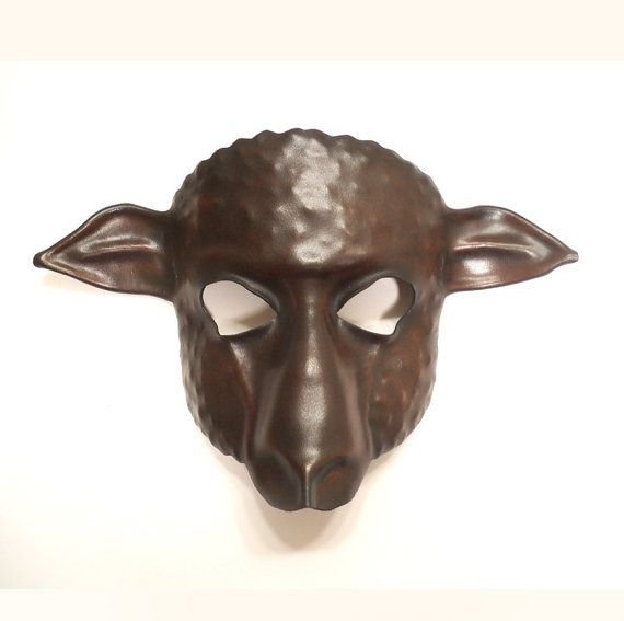sheep leather mask dark brown and black by teonova on etsy 138 00
