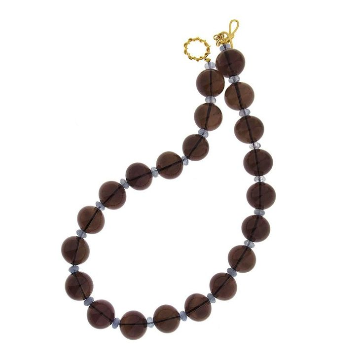 Smokey Topaz Round Ball and Aquamarine Rondelles Necklace   From a unique collection of vintage beaded necklaces at https://www.1stdibs.com/jewelry/necklaces/beaded-necklaces/