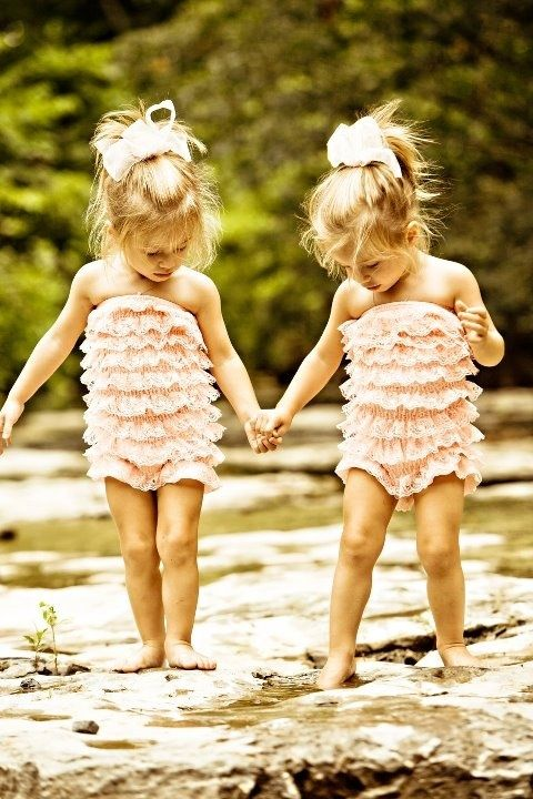 ruffle rompers: Little Girls, Sisters, Matching Outfits, Friends, Twin Girls, Twin Baby, Baby Girls, Bath Suits, Kid
