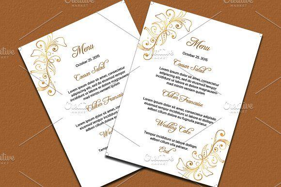 Wedding Menu Card Template @creativework247