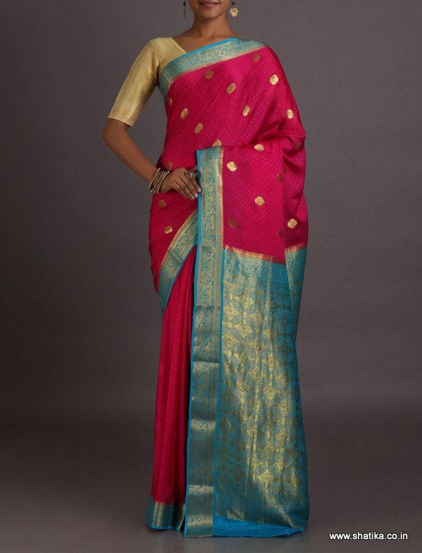 Shefali Charming Contrast Big Gold Bootis Opulent #MysoreSilkSaree