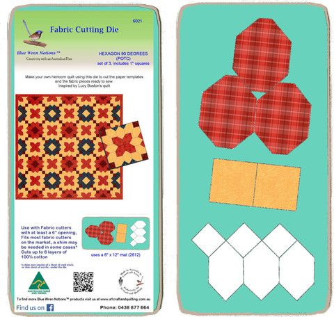 """Hexagons, 90 degree (POTC) with 1"""" squares, - 6021 - includes cutting mat"""
