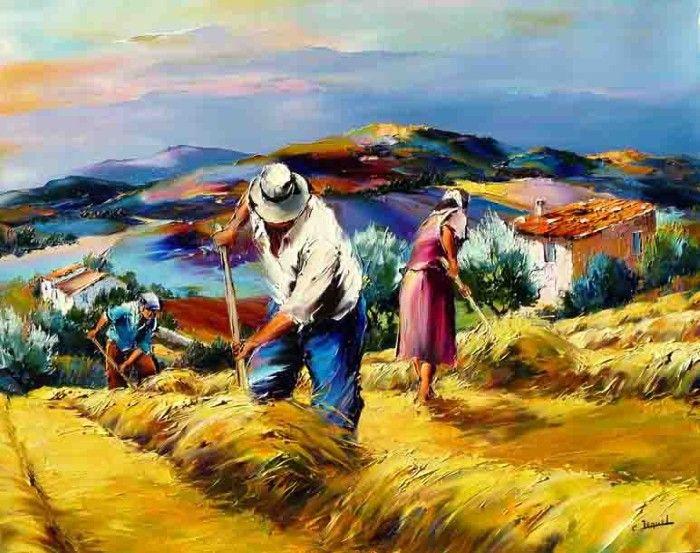 Сюжеты картин Кристиана взяты из жизни вокруг него. В первую очередь он пишет сцены из жизни юга страны и сельские пейзажи.