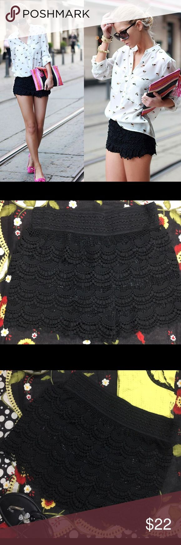"Vanilla Bay black Lace Crocheted Shorts Size XL Cute lace Crocheted shorts Cute lace Crocheted Vanilla Bay  Size XL  11 "" rise 13"" length.  Layers of Tiered of lace with Crocheted Vanilla Bay Shorts Skorts"