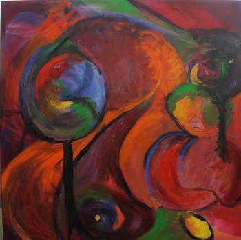 """Abstract """"waar gaat dit heen""""   acryl   november 2014"""
