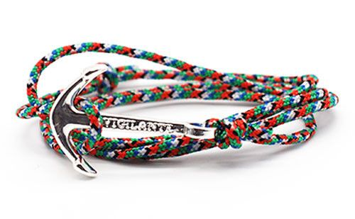 The Conrad Orange, Green & White Silver Anchor Rope Bracelet
