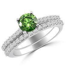 Fancy Green Diamond Matching Engagement Ring Set