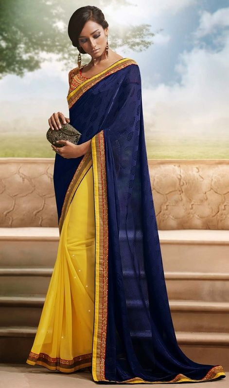 Every thing around you will fade away as you emerge dressed in this blue, yellow georgette and jacquard half n half sari. The incredible attire creates a dramatic canvas with brilliant resham, sequins and stones work. #LatestCasualSareeCollection