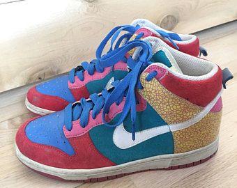 Vintage Nike hoge toppen met Colorblock Sneakers, sportschoenen, Retro Sneakers, Vintage Nike, maat 8 vrouwen