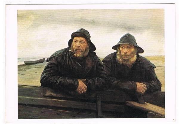 Michael Ancher: To fiskere ved en båd. - Selges av ryddegutta fra Heimdal på QXL.no