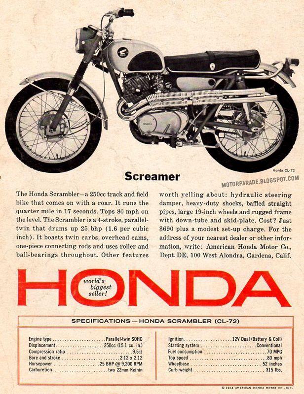 images about honda scrambler vintage brochures honda cl 72 scrambler 1964 usa