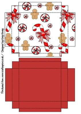 A cute Christmas gingerbread design decorates this easy to make gift box