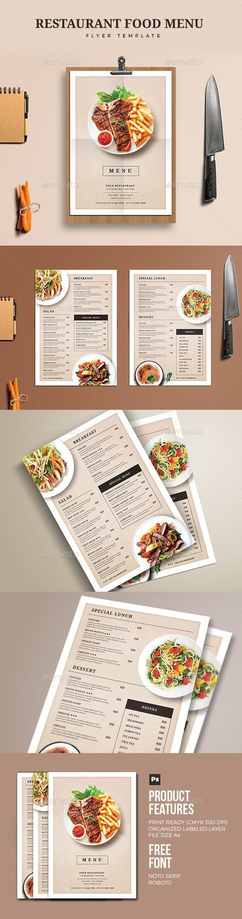 Restaurant Food Menu u2014 Photoshop PSD simple