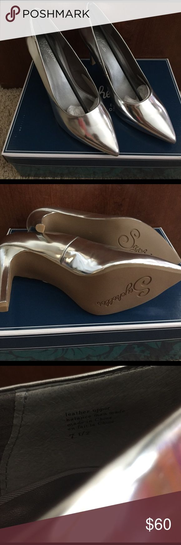 Seychelles Frequency pumps, Size 7.5 Brand new Seychelles Frequency pumps in Silver Metallic. Never worn, includes all original packaging and extra heels (see picture). Small area near heel where silver appears to have rubbed off (see picture); were like that when purchased. Seychelles Shoes Heels
