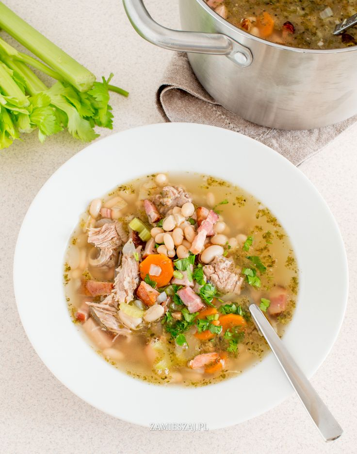 Polish white bean soup with celery and tabasco