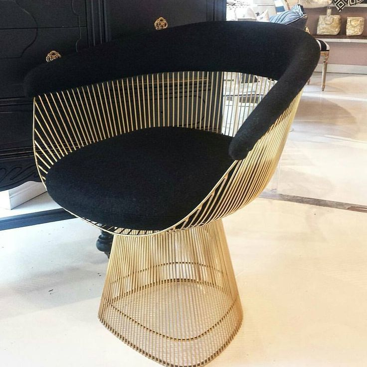 Platner Style STRAND CHAIR  L'Atelier Home  Hollywood Glam Black and Gold