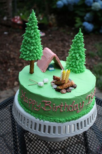found and repinned- from apartment therapy.com- girls camping cake. she used ice-cream cones for the trees and piped on the frosting. Love This!