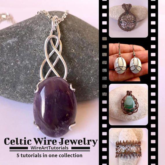 5 Tutorials Celtic Wire Jewelry PDF pattern book,wire wrapped weaved jewellery, copper cabochon pendant,bracelet,earring,wrapping weaving
