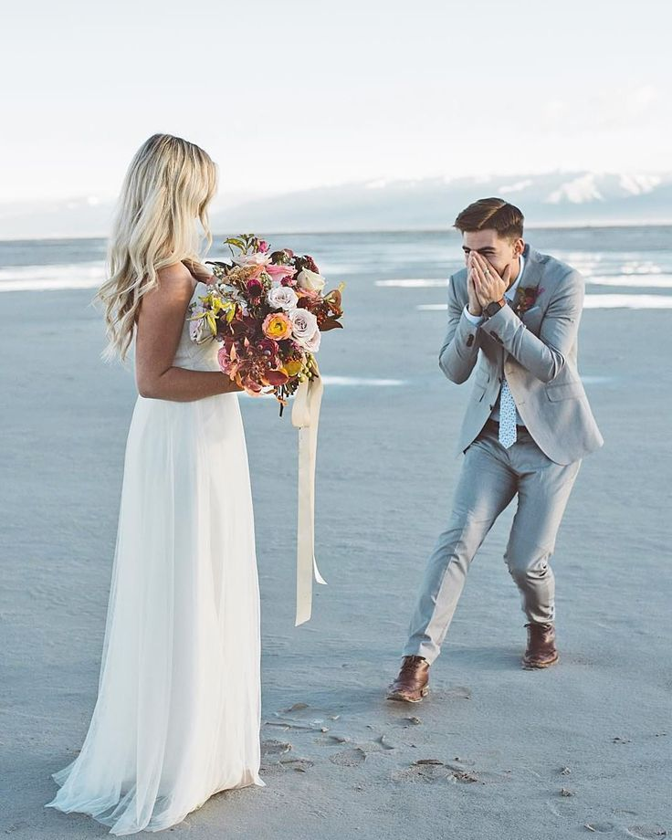 Adorable bride and groom moment