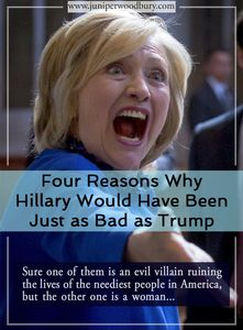 Satirical Article: Hillary Clinton would have been just as bad as Donald Trump. Sure, one of them is an evil villain ruining the lives of Americans, but the other is a woman. Trump sucks, but Hillary would have been just as bad, so pat yourself on the back for voting your conscience. Satirical feminist article, feminist humor, feminism, Hillary Clinton, Donald Trump, sexism, glass ceiling, feminist quotes, why we need feminism, women's voices, women's empowerment