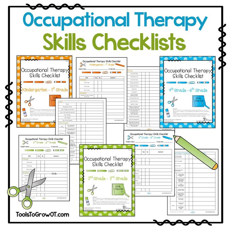 OT Skills Checklists - These informal assessment checklists provide a valuable record for documenting a child's progress in a variety of performance areas. These resources will help a therapist verify and compare a child's development in functional areas.