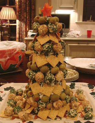 Christmas tree cheese appetizer favorite foods - Christmas tree shaped appetizers ...