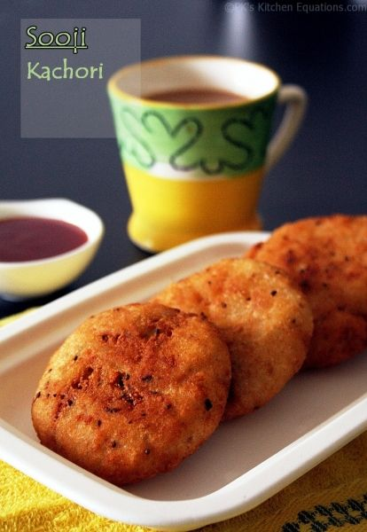Sooji (semolina) Kachori -- a crisp fried Indian snack using semolina and a quick potato filling.
