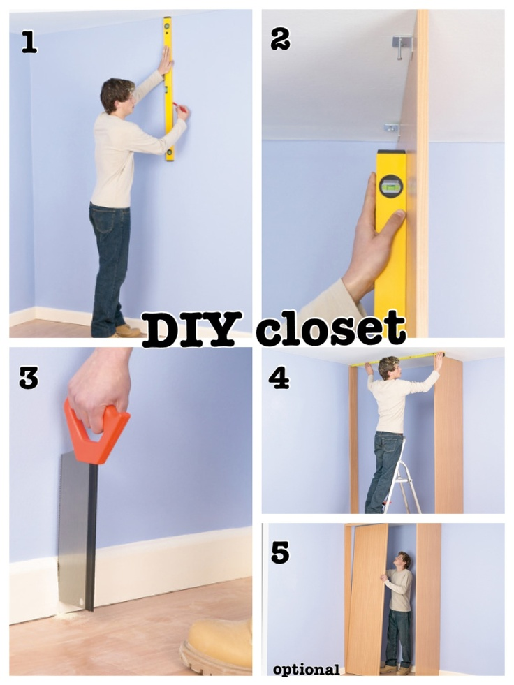 """1. Measure & Draw plumb line on the wall. 2 Attach Side Panel loosely to ceiling w/ plates, use level to check & secure it. 3 Cut section from baseboard to allow jamb to sit against the wall. 4 Install the runners, measure distance between inside edges of  panel & jamb. Check closet is """"square"""" by measuring at top & bottom of the opening. Cut base rail to length. Position between the side panel & jamb. 5 Install the doors on the runner mechanism, runners to allow the doors to hang correctly."""
