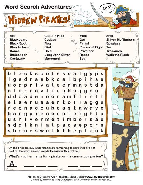 Hidden Pirates Word Search